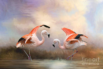 Print featuring the photograph Dance Of The Flamingos  by Bonnie Barry