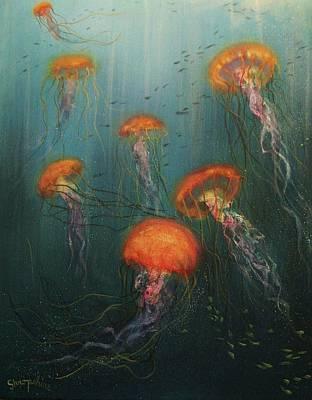 Dance Of The Jellyfish Art Print by Tom Shropshire