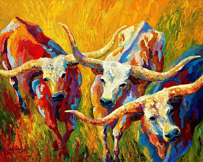 Western Painting - Dance Of The Longhorns by Marion Rose