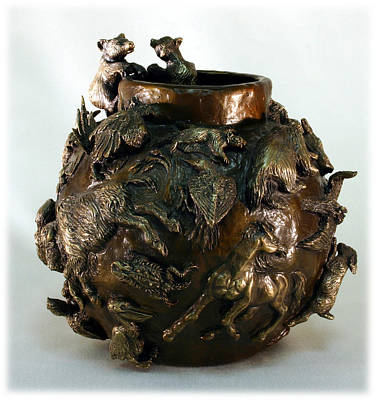 Black-footed Ferret Sculpture - Dance Of The Seasons - Bronze Bowl With Bear Cubs by Dawn Senior-Trask