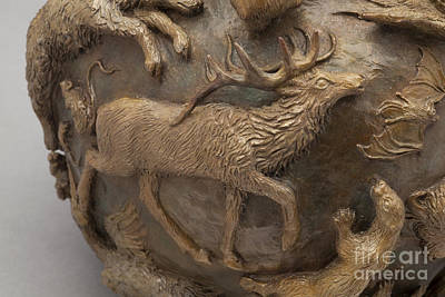 Sculpture - Dance Of The Seasons - Bronze Wildlife Bowl Detail - Elk by Dawn Senior-Trask
