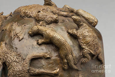 Sculpture - Dance Of The Seasons - Bronze Wildlife Bowl Detail - Otter And Turtle by Dawn Senior-Trask
