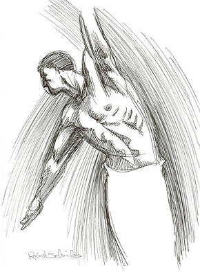 Homoerotic Drawing - Dance by Robert Schnieders