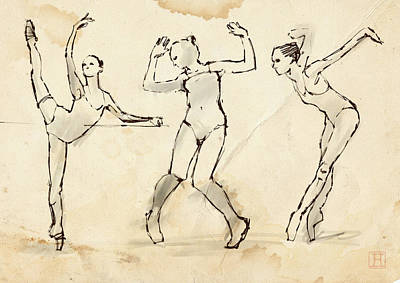 Stained Drawing - Dance Studies by H James Hoff
