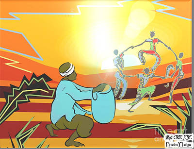 Drawing - Dance To Drums by Belinda Threeths
