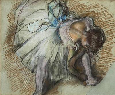 Edgar Home Painting - Dancer Adjusting Her Shoe by Edgar Degas