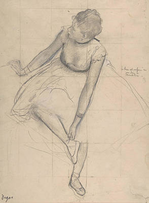 Drawing - Dancer Adjusting Her Slipper by Edgar Degas