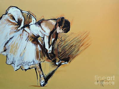 Painting - Dancer Adjusting Her Slipper by Jodie Marie Anne Richardson Traugott          aka jm-ART