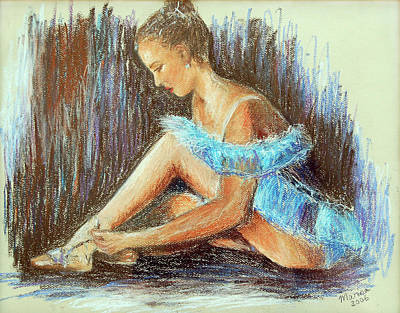 Painting - Dancer Adjusting Her Slipper by Marina Garrison
