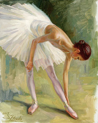 Painting - Dancer Adjusting Her Slipper. by Serguei Zlenko