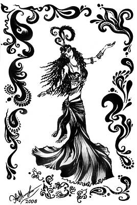 Superstar Drawing - Dancer Ameynra. Belly Dance Super Star  by Sofia Metal Queen