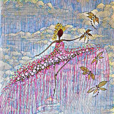 Dancer And Dragonflies 5 Art Print