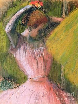 Dancer Arranging Her Hair Art Print by Edgar Degas
