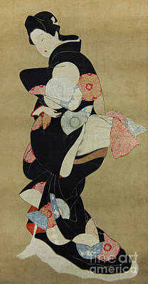 Painting - Dancer, Hanging Scroll  by Hishikawa Moronobu