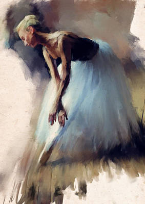Dancer In Blue Art Print by H James Hoff