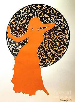 Dancer In Orange Art Print by Yvonne Ayoub