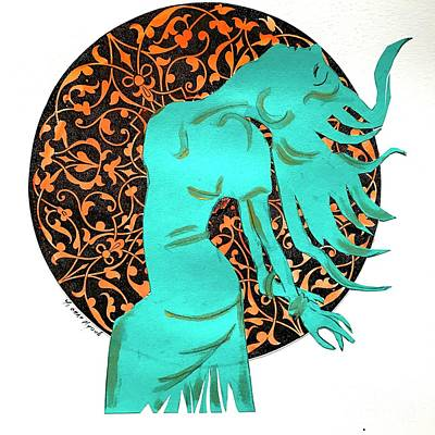 Dancer In Turquoise 02 Art Print by Yvonne Ayoub