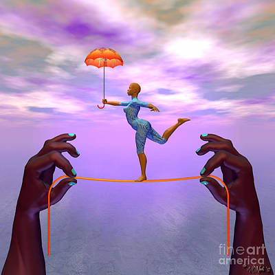 Gymnast Digital Art - Dancer On A String 2 by Walter Oliver Neal