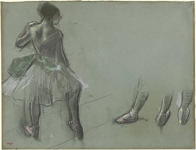Classic Study Drawing - Dancer Seen From Behind And Three Studies Of Feet by Edgar Degas
