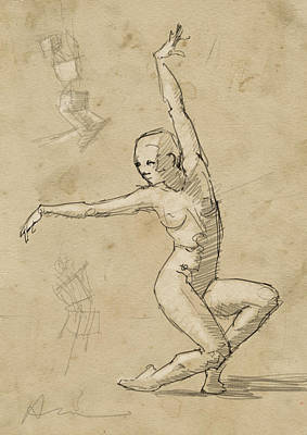 Figure Study Drawing - Dancer Study by H James Hoff