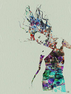 Dancing Girl Painting - Dancer Watercolor Splash by Naxart Studio