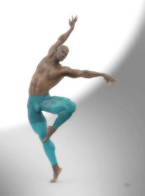 Muscular Digital Art - Dancer With Blue Leotard by Joaquin Abella