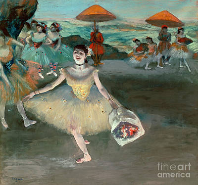 Dancer With Bouquet Art Print by Edgar Degas