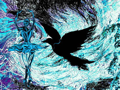 Ballet Digital Art - Dancer With Crow by Abstract Angel Artist Stephen K