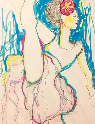 Wall Art - Drawing - Dancer With Flower by Rosalinde Reece