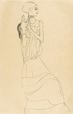 Long Necklace Drawing - Dancer With Necklace. Study For The Dancer From The Stoclet-frieze by Gustav Klimt