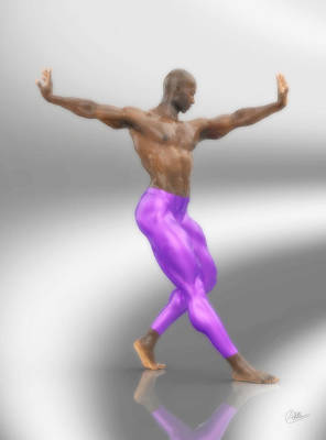 Ballet Dancers Digital Art - Dancer With Purple Leotards by Joaquin Abella
