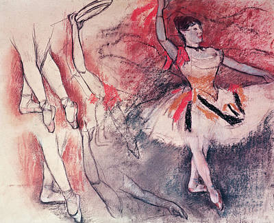 Dancer With Tambourine Or Spanish Dancer Art Print by Edgar Degas