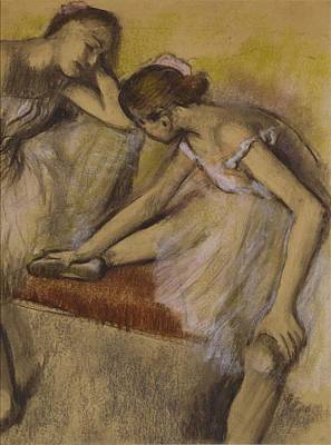Backstage Painting - Dancers In Repose by Edgar Degas