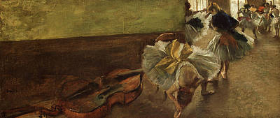 Double Bass Painting - Dancers In The Rehearsal Room With A Double Bass by Edgar Degas