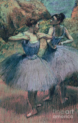 Backstage Pastel - Dancers In Violet  by Edgar Degas