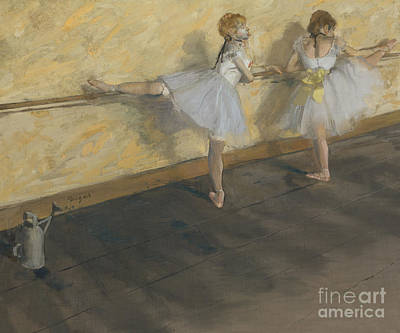 Degas Painting - Dancers Practising At The Barre, 1877 by Edgar Degas
