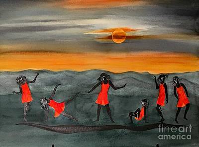 Outoors Painting -  Dances With The Moon by Karen Ann