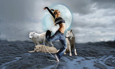 Mixed Media - Dances With Wolves by Marvin Blaine