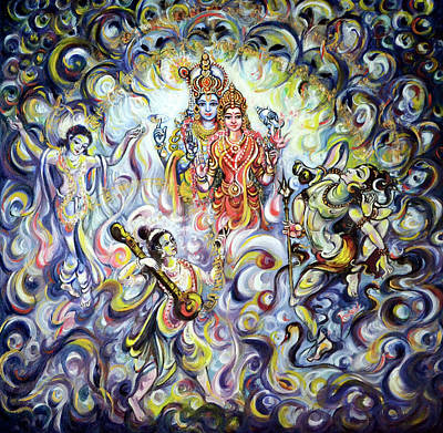 Painting - Dancing And Chanting For Vishnu Lakshmi by Harsh Malik