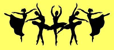 Painting - Dancing Ballerinas Silhouette by Irina Sztukowski