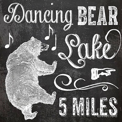 Dancing Bear Lake Rustic Cabin Sign Art Print by Mindy Sommers