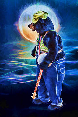 Digital Art - Dancing Bear With Banjo by John Haldane