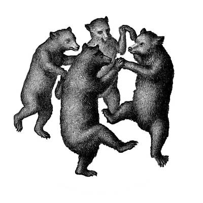 Drawing - Dancing Bears Round Circle Beach Towel Blanket by Edward Fielding