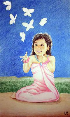 Drawing - Dancing Butterflies by Marilyn Hilliard