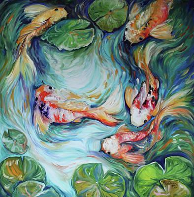 Abstract Wildlife Painting - Dancing Colors Koi II by Marcia Baldwin