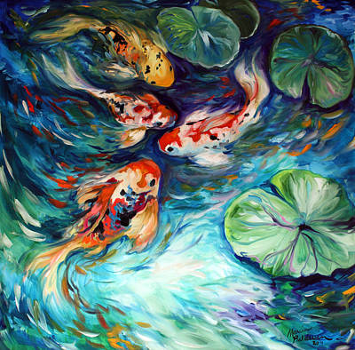 Lilies Royalty-Free and Rights-Managed Images - Dancing Colors Koi by Marcia Baldwin