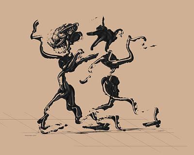Dancer Digital Art - Dancing Couple 1 - Hazelnut by Manuel Sueess