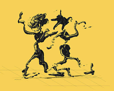 Dancing Couple 1 - Primrose Yellow Art Print by Manuel Sueess