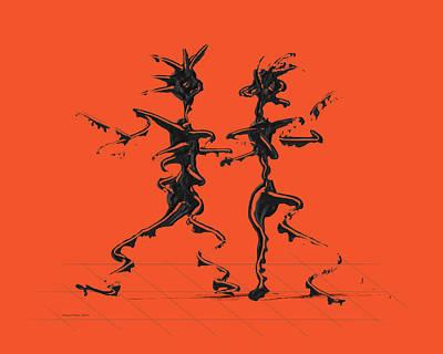 Dancer Digital Art - Dancing Couple 2 - Flame by Manuel Sueess