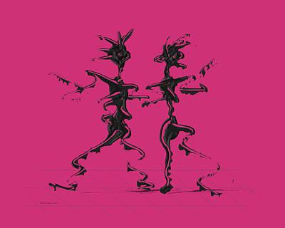 Dancer Digital Art - Dancing Couple 2 - Pink Yarrow by Manuel Sueess